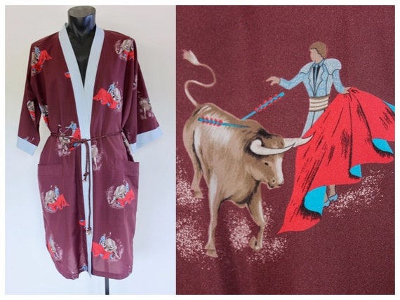 1960s Matador Mens Smoking Robe, Travel Robe, Dres