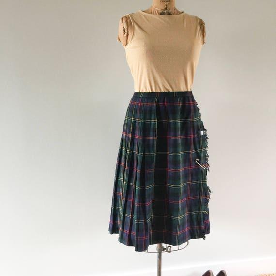 Vintage Wool Kilt, Tartan Skirt, Pleated Plaid Skirt, New Zealand, Lazy Day Vintage, Plaid Skirt Size 10 12 US 12 14 UK, D