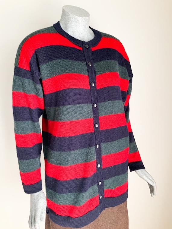 Pure Alpaca Striped Knit Cardigan, Womens Cardie,
