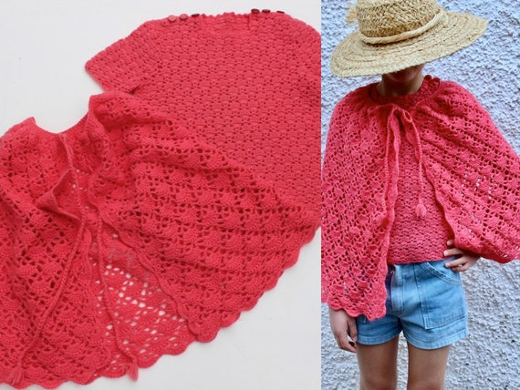Watermelon Pink Cape and Knit Top, 8-10 years, Woo