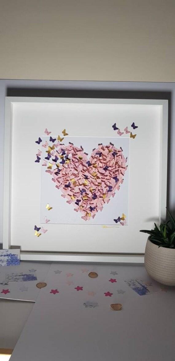 Yellow Framed 3D Butterfly Heart Picture Love Heart Butterfly Anniversary Gift Butterfly Decal 3D Wall Art Butterfly Art