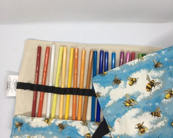 Pencil roll. Pencil case. Bumblebee. Holds 36 pencils