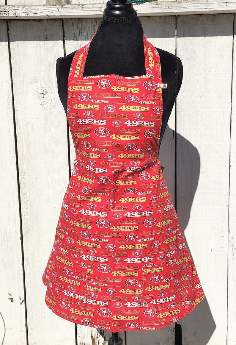 353f9359 Women's NFL San Francisco Forty Niners 49ers Print Apron ~ Red / Gold /  Black / White ~ One Size Fits Most ~ Handmade
