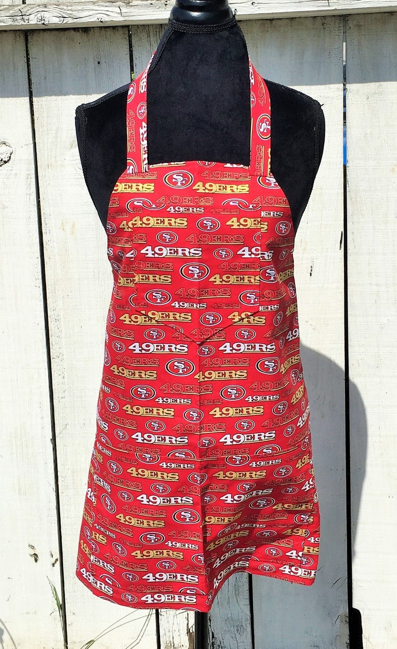 d5f6c687 Men's NFL San Francisco Forty Niners 49ers Print Apron ~ Red / Gold / Black  / White ~ One Size Fits Most ~ Handmade