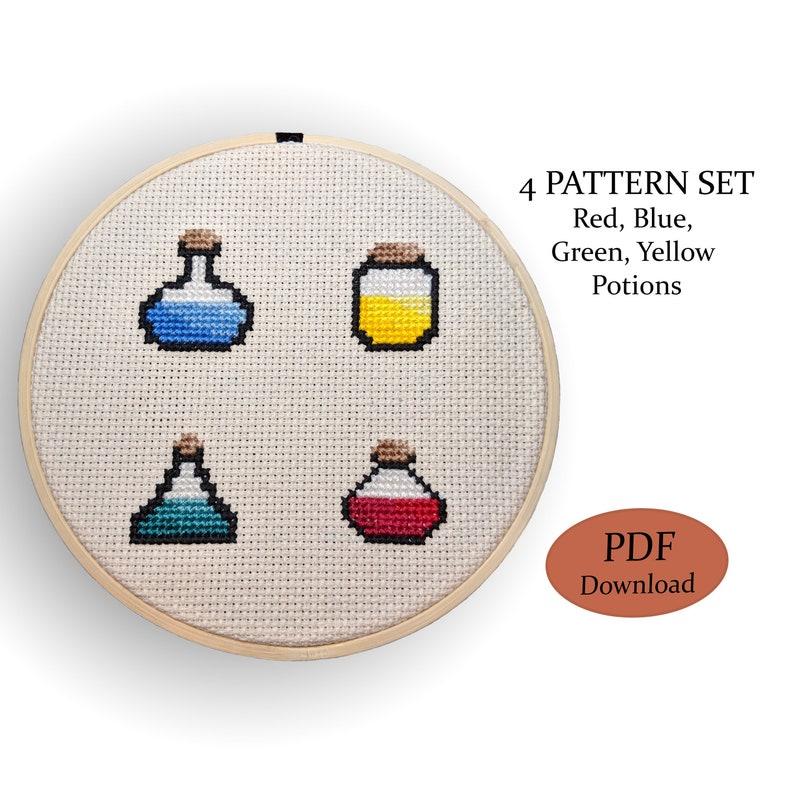 Green and Yellow Potion Patterns Potion Set Red Cross Stitch Pattern Set Blue
