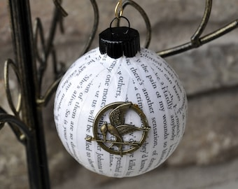 Book Ornament, Upcycled Hunger Games Trilogy Book Ornament with Mockingjay Charm