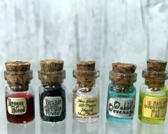 Set of 5 Mini Wizard Potions, Harry Potter Miniatures, Charms