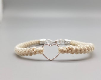 Heart Bracelet, Cotton Anniversary, Gift for Her, 2nd Anniversary Her, Birthday Gift, Wedding Favour, 925 Sterling Silver, Valentines Gift