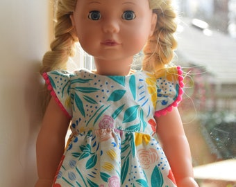 "18"" Doll Dress in Wild Flower Garden"