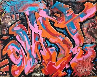 "DUST About To Blow! pt.2 - graffiti art, original canvas by Scottish artist, 'DUST' [EDGE23] - 10""x8"""