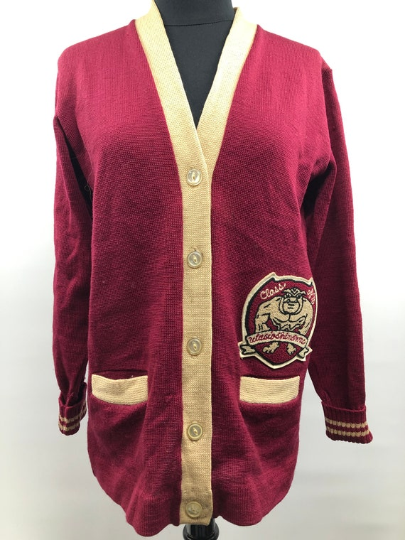 Red Wine Varsity Stripe Pullover 70s Varsity Top Vintage 1970s Small