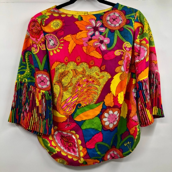 Vintage 1960's Bright Psychedelic Print Blouse
