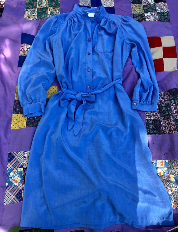 Vintage 1970's Silky Blue Shirt Dress