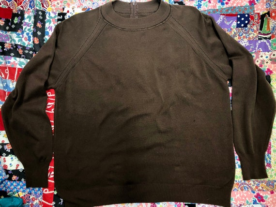 Vintage 1960's Brown Polyester Crew Top