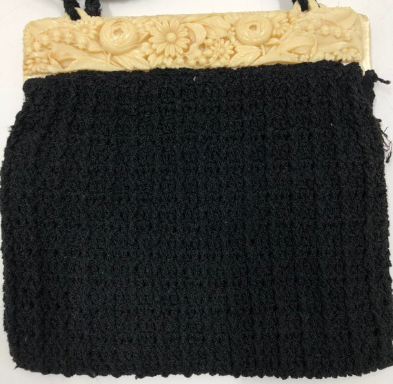 Vintage 1940's Carved Lucite and Knit Purse - image 7