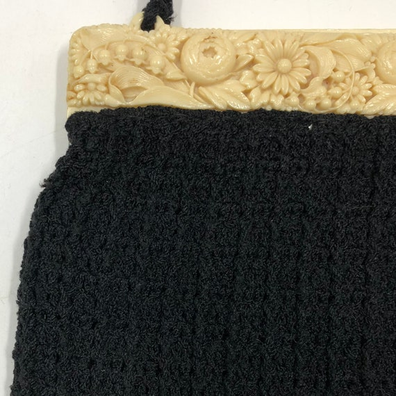 Vintage 1940's Carved Lucite and Knit Purse - image 1