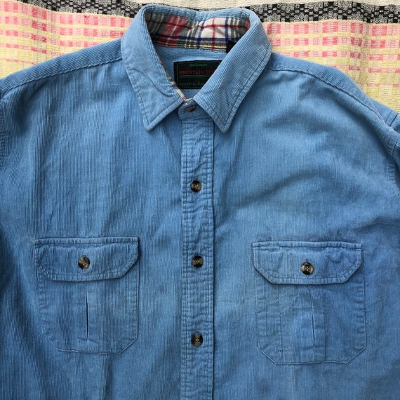 Vintage 80's  Baby Blue Corduroy Camp Shirt - image 3