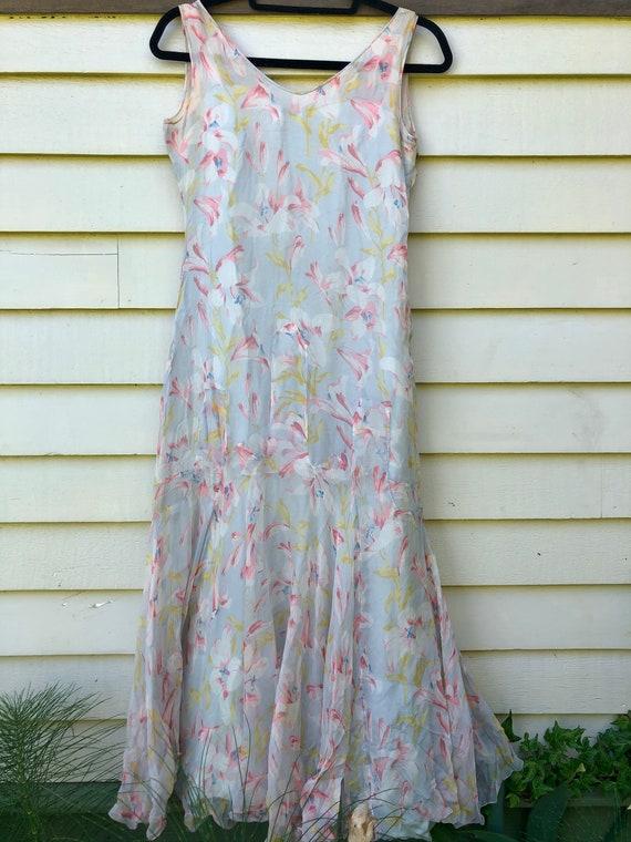 1930's Floral Bias Cut Silk Chiffon Dress with Sl… - image 2