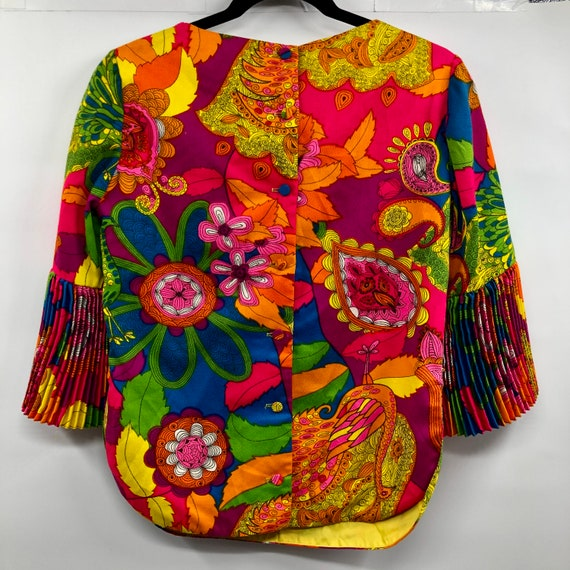 Vintage 1960's Bright Psychedelic Print Blouse - image 4