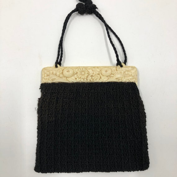 Vintage 1940's Carved Lucite and Knit Purse - image 5