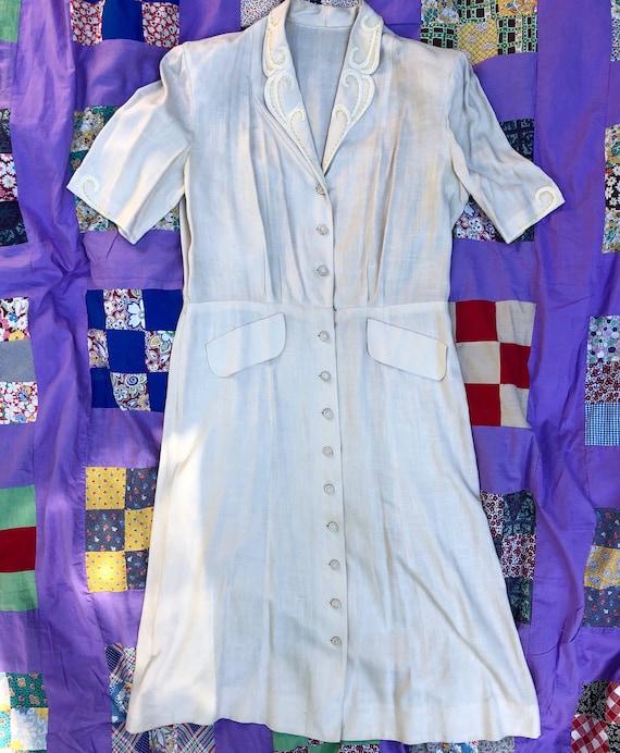 Vintage 1940's XL Beige Dress with Hand Sewn Detai