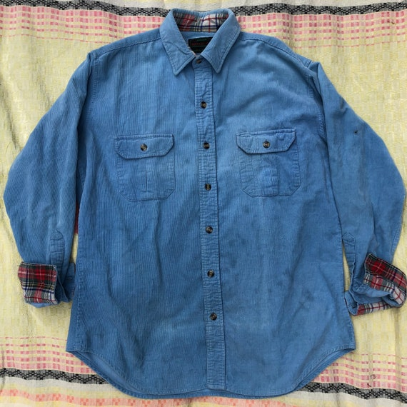 Vintage 80's  Baby Blue Corduroy Camp Shirt - image 1