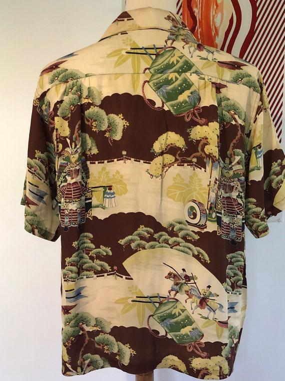 Vintage 1950's Samurai Hawaiian Shirt