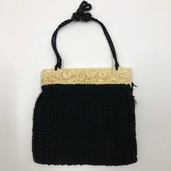 Vintage 1940's Carved Lucite and Knit Purse - image 3