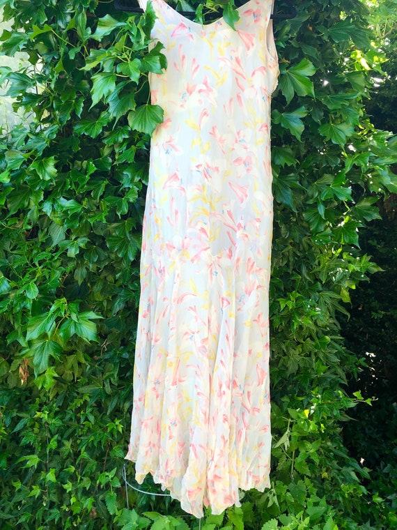 1930's Floral Bias Cut Silk Chiffon Dress with Sl… - image 1