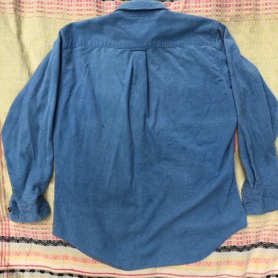 Vintage 80's  Baby Blue Corduroy Camp Shirt - image 5