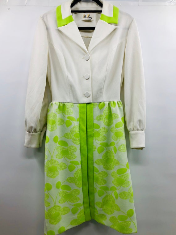Vintage 1960's Polyester Dress with Lime Green Dai