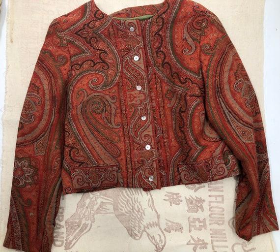 Vintage 1960's Tapestry Paisley Cropped Bolero Jac
