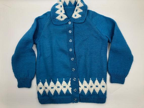 Vintage 1940's/50's Cerulean Blue Knit Sweater Car