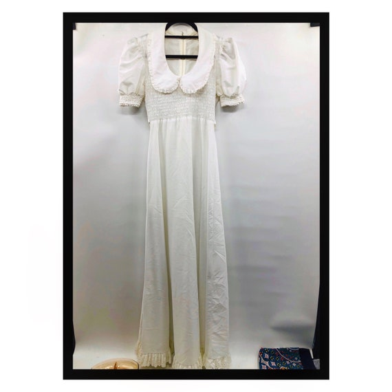 Vintage 1960's Long White Prairie Dress