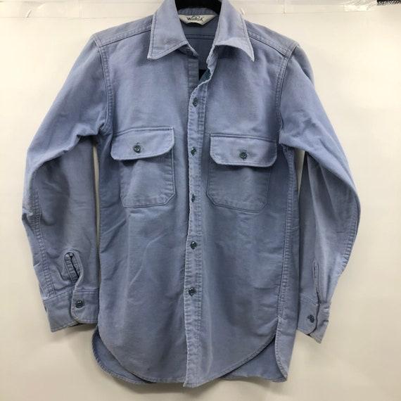 Vintage 1980's Woolrich Baby Blue Flannel Work Shi