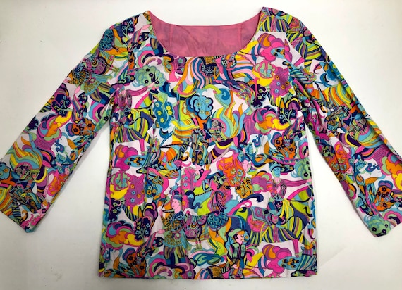 Vintage 1960's Neon Psychedelic Blouse