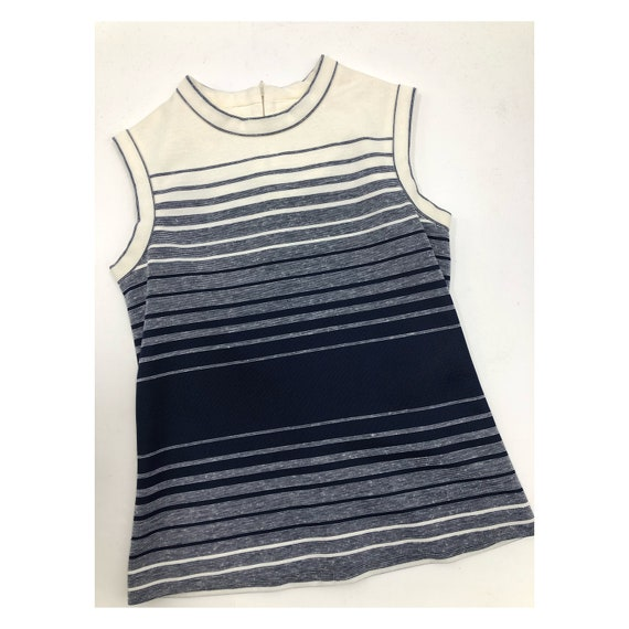 Vintage 1960s Striped Mod Minimalist Sleeveless To