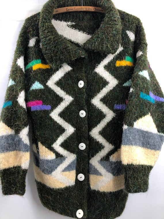 Vintage 1980's Fuzzy Cardigan Sweater with Abstrac