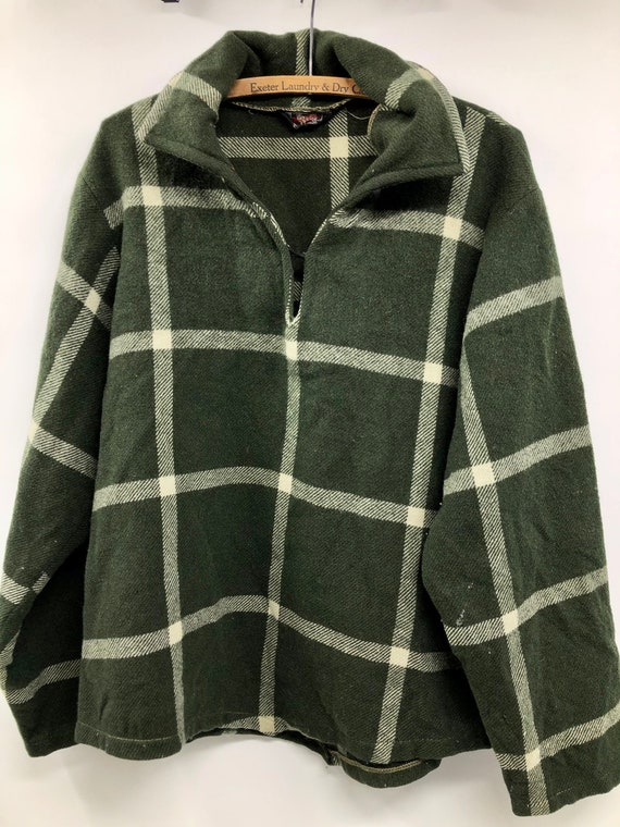 Vintage 1940's Woolrich Forest Green Plaid Pullove