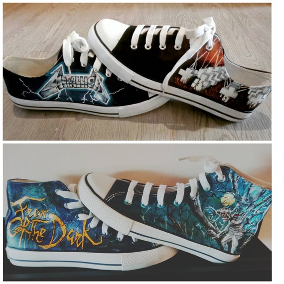 Hand-painted converse style shoes are