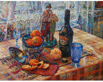 Still life with bottle of liquor.  Oil on canvas