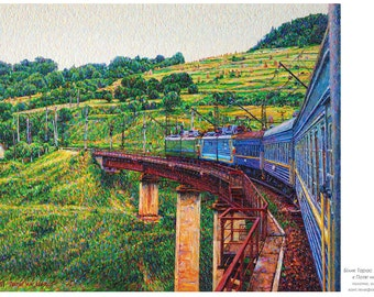 Train on Shipot.  Oil on canvas