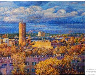Linen factory in  Rivne.  Oil on canvas