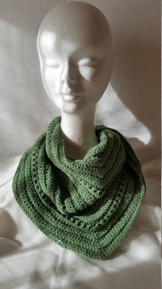 Crochet Baktus Scarf In Green Fern Wool Etsy
