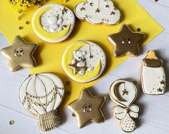 Gender neutral baby shower cookies Twinkle twinkle  little star  baby shower cookies Gold and white baby shower cookies 2 dozen