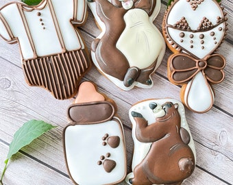 Woodland baby shower cookies 1 dozen