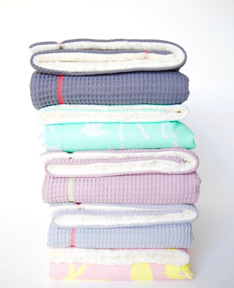 cuddle blanket ornamental neon yellow from favourite cuts Baby blanket cotton blanket waffle piqu\u00e9 light grey