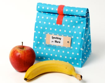 Lunch bag, bread bag, polka dots, coated cotton