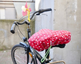 Saddle cover, bicycle saddle saver, red with small white dots, water-repellent