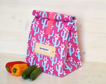 Lunchbag, bread time, cactus with flower, coated cotton, water repellent